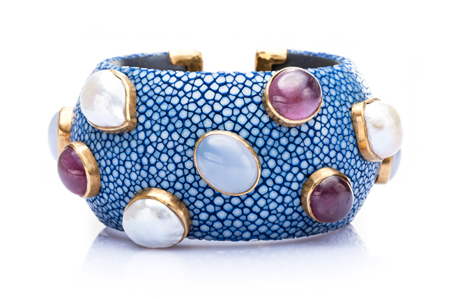 Luxurious Shagreen Cuff Bracelet in Ocean Blue