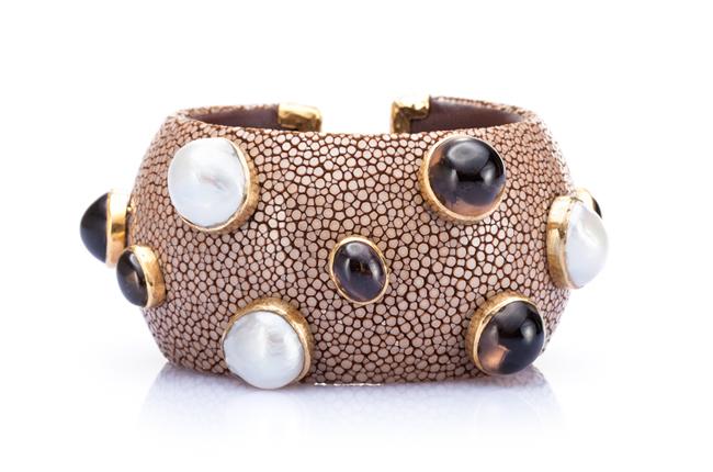 Luxurious Shagreen Cuff Bracelet in Warm Taupe