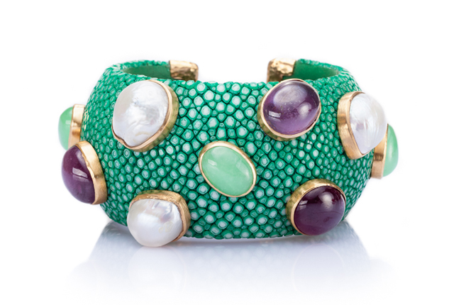 Luxurious Shagreen Cuff Bracelet in Jade Green
