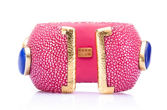 Luxurious Shagreen Cuff Bracelet in Flamingo Pink