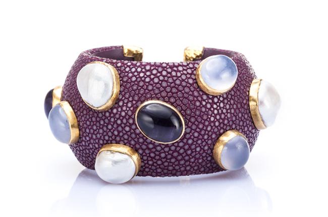 Luxurious Shagreen Cuff Bracelet in Plum Purple