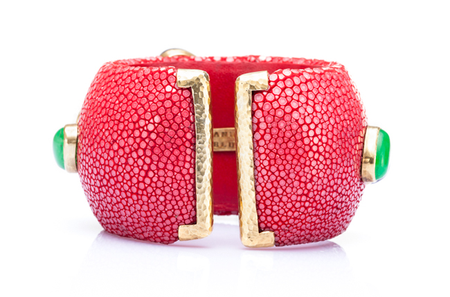 Luxurious Shagreen Cuff Bracelet in Coral Red